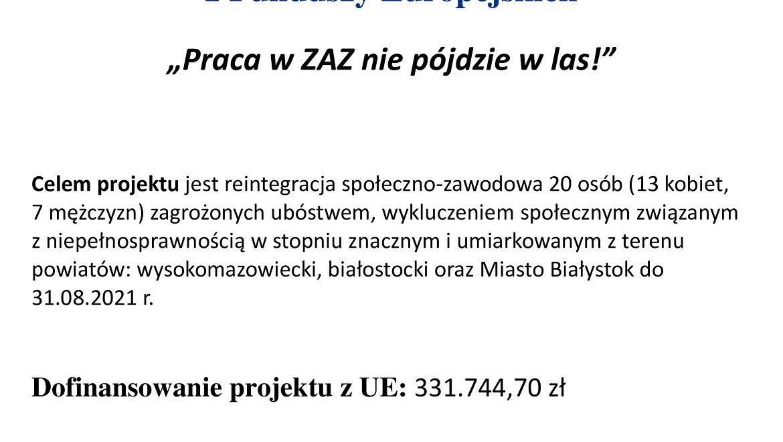"""Projekt """"Praca w ZAZ nie pójdzie w las!"""""""